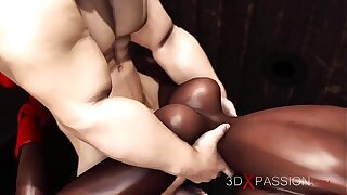 3dxpassion.com. Black girl gets fucked hard in public glory hole by a brutal man in a mask